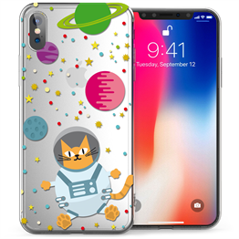 Apple iPhone X Astronaut Cat TPU Gel Case