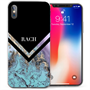 Apple iPhone X  Marble Arrow Personalised TPU Gel Case - Blue