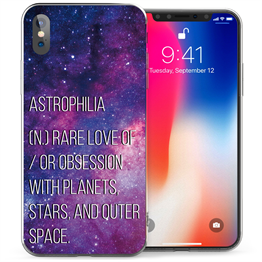 Apple iPhone X Astrophilia Quote TPU Gel Case - Purple