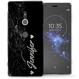Sony Xperia XZ2 Black Marble Personalised TPU Gel Case