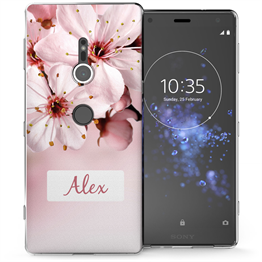 Sony Xperia XZ2 Light Pink Floral Personalised TPU Gel Case
