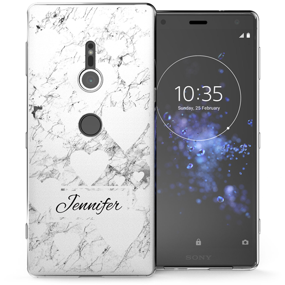 Sony Xperia XZ2 White Marble Hearts Personalised TPU Gel Case