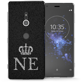Sony Xperia XZ2 Black Crown Personalised TPU Gel Case