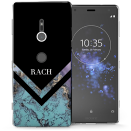 Sony Xperia XZ2 Black Blue Arrow Personalised TPU Gel Case