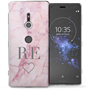 Sony Xperia XZ2 Pink Marble Heart Personalised TPU Gel Case