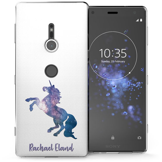 Sony Xperia XZ2 Blue Unicorn Personalised TPU Gel Case