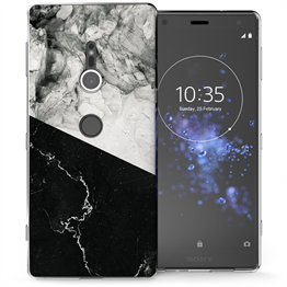 Sony Xperia XZ2 Black White Marble Slice TPU Gel Case