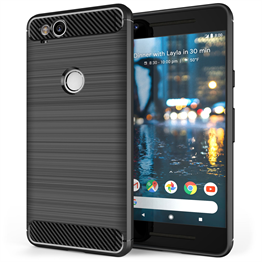 Google Pixel 2 Carbon Fibre Gel Case Black