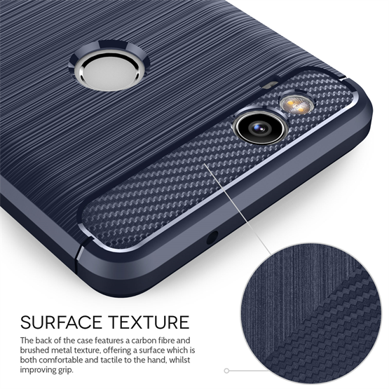 Google Pixel 2 Carbon Fibre Gel Case Blue