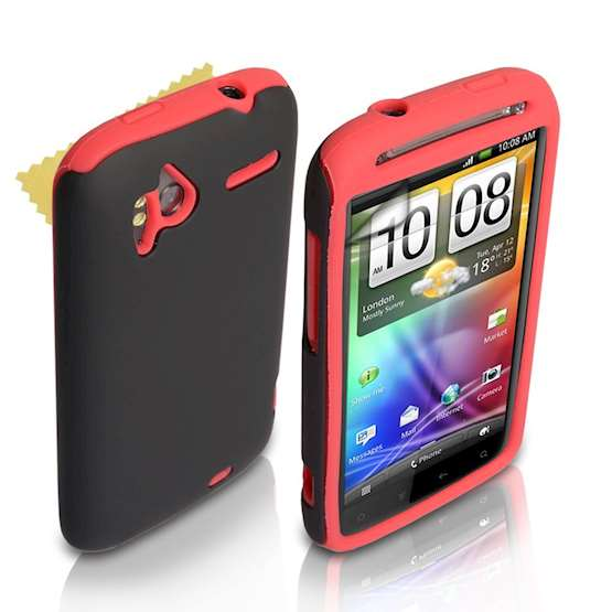 Yousave Accessories HTC Sensation Dual Combo Case - Red / Black