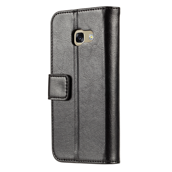Samsung Galaxy A3 (2017) Real Leather ID Wallet Case - Black