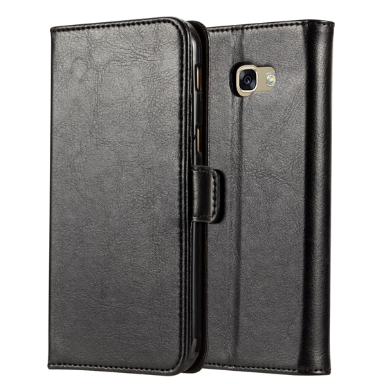 Samsung Galaxy A5 (2017) Real Leather ID Wallet Case - Black