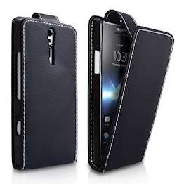 YouSave Accessories Sony Xperia S Leather-Effect Flip Case - Black
